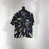 kısa kollu hawaiian gömlek toptan satış-2019 Moda Lüks Avrupa İtalya Allover Thunder Baskı Frankenstein Hawaii Kısa Kollu Bluz Erkek Kadın Tee Rahat Gömlek