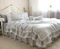 Wholesale lace quilt cover set resale online - WINLIFE Lace Ruffle Cotton Bedding Quilt Cover Floral Garden Duvet Cover Bed Skirt
