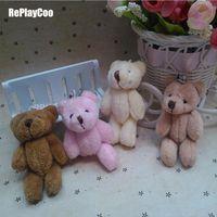ingrosso bambola di orsacchiotto-25pcs / lot Kawaii piccolo giunto Teddy farcito con catena 8 cm giocattolo Teddy-bear Mini Bear Ted Bears giocattoli peluche regali 083 Q190521
