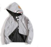 ingrosso uomini sottili da hoodie neri-Mens donna Interchange jacSportwear Coat Zipper Summer Sweatshirt WGM Ricamo Shark Nero Hip Hop Hoodie Men Shark bocca Gold Silver coat