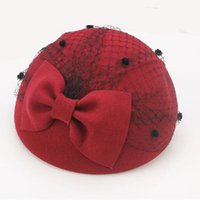 Wholesale black veil for fascinator for sale - Group buy British Black bow Wool Pillbox Hat For Women With Veil Fall Winter Wedding Fascinator Hats Vintage Ladies Formal Felt Cap