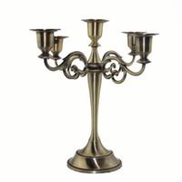 ingrosso candele di bronzo-Nuovi candelieri a 5 bracci candelieri conici candelieri centrotavola matrimonio portacandele bronzo oro argento Y19061901