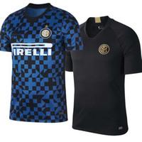 venta de jersey negro al por mayor-INTER BLACK TRAINING BLUE PREMATCH TOP Camiseta de fútbol 2019 2020 LUKAKU 19/20 LAUTARO SKRINIAR Camisetas de fútbol Uniformes de fútbol para adultos Ofertas