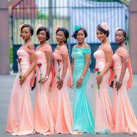 Wholesale aqua bridesmaid party dresses resale online - New Arrival Coral Aqua South African Bridesmaid Dresses with Cold Shoulder Sheath Satin Wedding Guest Party Evening Formal Dress