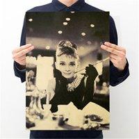 стикер стены хепберн оптовых-Одри Хепберн Super Star Классический фильм Крафт бумага плакат стены стикеры украшения Живопись 50.5X35cm