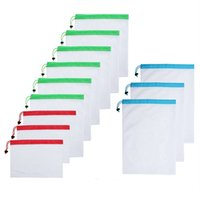 Wholesale korean napkin for sale - Group buy reusable mesh bags for food fruit and vegetables bag Washable net Produce Bags for Grocery Shopping Kitchen Storage Organization