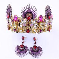 prinzessin tiara krone lila großhandel-Pageant Crown Princess Tiara Kristall Strass Kopfschmuck Hochzeit Braut Stirnband Perle Haarschmuck Schmuck Lila Grün Ohrringe Set