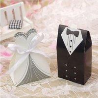 gelinlik iyilik kutuları toptan satış-100pcs / sürü Gelin Ve Damat Modelleri Düğün Şeker Kutusu Hediyeleri Kutu Düğün Şekerlikler DIY Olay Parti Malzemeleri Favor