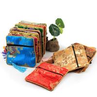 pochette à fermeture éclair chinoise achat en gros de-Zipper Bijoux Pochettes Style Chinois Vintage Cadeaux Sacs Coin Gland Décor Coton Pochette En Soie 11.5x11.5cm Sac Carré