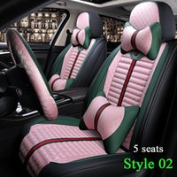 Wholesale fashion flax resale online - Fashion Flax Stitching style PU Leather Auto Universal Size For Toyota Hyundai Kia BMW Car Seat Cover Waterproof Automobile Covers Pink