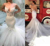 Wholesale sexy open back wedding dresses online - Spaghetti Straps Open Back Lace Mermaid Wedding Dresses Sexy Sheer Appliques Formal Dress Bride Reception Gowns With Long Train