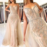 Wholesale rhinestone evening dress sequin for sale - Group buy Rhinestones Mermaid Prom Dresses Sweetheart Sleeveless Spaghetti Zipper Sweep Train Sexy Beading Crystals Party Gowns Evening