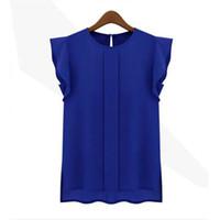 ruffle yaka bluz artı boyutu toptan satış-Moda Kadın Bluzlar Katı Bayan Tops Ve Bluzlar Şifon Gömlek Ol Lady Yuvarlak Yaka Kolsuz Ruffles Artı Boyutu Tops