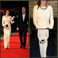 vestido branco fenda frente venda por atacado-Branco cetim elástico até o chão vestidos de noite manga comprida fenda frontal Kate Middleton Original celebridade vestidos de tapete vermelho 777