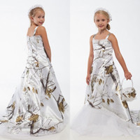 Wholesale yellow lace flower girl dresses for sale - Group buy White Real Tree Camo Lace Flower Girl Dresses Custom Toddler Kids Formal Wedding Wear Camouflage Satin Birthday Party Gowns