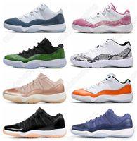 ingrosso scarpe da basket rosa per le donne-11 Low Navy Blue Pink Snakeskin Bianco Rosso Scarpe da basket Bred Concord Georgetown Space Jam GG Sneakers da basket Donna Uomo 11s Trainer XI