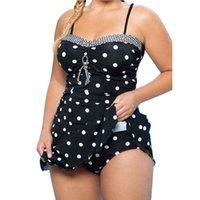 Wholesale two piece swimwear for plus size for sale - Womens Plus Size Ladies Print Dot Two Piece Swimsuit Summer Comfortable Swimwear Low Waist Swimming Suit For Women Bikini