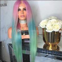 ingrosso lunga anima parrucca blu-Parrucca lunga del merletto diritto della sirena Parrucca anteriore del merletto di colore dell'arcobaleno Bellezza Pastello Rosa Viola Blu verde Colourful Colore Anime Cosplay Parrucca del partito