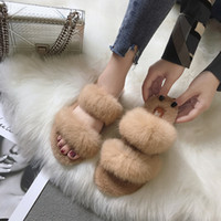 Wholesale warm house shoes resale online - 2018 Fashion Casual Soft Fluffy Slides for Women Flat Low Open Toe Fur Slippers Solid Winter Warm House Shoes