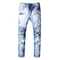 ünlü marka erkekler kot pantolon toptan satış-Delik Distrress Balmain Kot Ünlü Marka Erkek Uzun Düz Fit Jeans Casual Denim Yıkanmış Kadın Erkek Denim Jeans