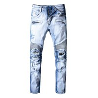 ingrosso jeans famosi uomini di marca-Hole Distrress Balmain Jeans Jeans di marca famosi da uomo a maniche lunghe dritti Denim casual Lavati Jeans da uomo da donna