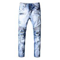 célèbre marque hommes jeans achat en gros de-Trou Distrress Balmain Jeans Célèbre Marque Hommes Longue Coupe Ajustée Jeans Casual Denim Lavé Femmes Hommes Denim Jeans