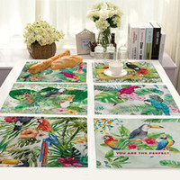 Wholesale table placemat for wedding resale online - Parrot Printing Table Mat Animal Bird Pattern Kitchen Placemat Table Napkin For Wedding Party Decoration Dining Accessories