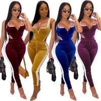 Wholesale yoga pant bodysuit resale online - Velvet Two Piece Set Women Tracksuit Slim Bodycon Bodysuit Pants Suit Clubwear Outfits women Suits Jogging clothes