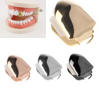 ingrosso bling hip hop caps-Colore oro Hip Hop Single Tooth Grillz Cap Top Inferiore Grill per Halloween Jewelry Gifts Bling Custom denti Rhinestone deco 4 colori