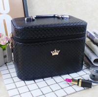 Wholesale crown cosmetics for sale - Group buy Women noble Crown big Capacity Professional Makeup Case Organizer High Quality Cosmetic Bag Portable Brush Storage box Suitcase