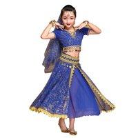 hintli bollywood kostümleri toptan satış-Oryantal Dans Kostüm Bollywood Elbise Sari Giyim Hint Dans Giyim Kadın / Kız Çingene Kostümleri (Üst + kemer + etek + peçe + başlık)