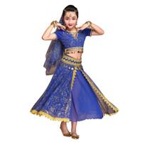 ropa india de las mujeres al por mayor-Traje de danza del vientre Vestido de Bollywood Sari Ropa de baile Ropa de baile indio Disfraces gitanos para mujeres / niñas (Top + cinturón + falda + velo + tocado)