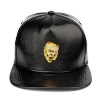 65bc0b82c183c NYUK para hombre de lujo ajustable PU Leather Gold Rhinestone Crown Lion  Head Gorras de béisbol negro Snapback sombreros hombres mujeres Hip Hop Cap