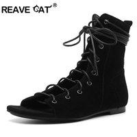 kadınlar için kahverengi düz çizmeler toptan satış-REAVE KEDI Ayakkabı kadın Ayak Bileği çizmeler Yaz çizmeler Bayanlar ayakkabı ile düz ayakkabı Çapraz kravat Fermuar Akın Yeni Serin Siyah Kahverengi Kadın A1871