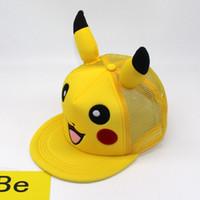 beyzbol çizgi karakterleri toptan satış-Çocuk açık spor beyzbol kapaklar çizgi film karakteri Pikachu hayvan şapkalar