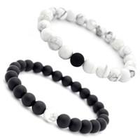 ingrosso fascia di fascia-Bracciale in pietra naturale di turchese bianco Buddha Yin Yang Beads Strand Bracciale a fascia Donna Uomo Gioielli di moda Will e Sandy Drop Ship 320195