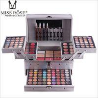 блестящие тени для век оптовых-Miss Rose Professional Cosmetic  Set in Aluminum Box Three-layers with Glitter Eyeshadow Lip Gloss Blush for  Artist