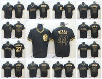 ouro jr venda por atacado-2019 Baseball Preto Ouro 27 Mike Trout Jersey 19 Charlie Blackmon 44 Anthony Rizzo 13 Ronald Acuna Jr. 35 Cody Bellinger Manny Machado