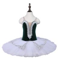 kostüme grüne tutus großhandel-Grünes professionelles Ballett-Tutu, erwachsenes Pfannkuchen-Tutu-Kleid der Ballerina, Kinder üben Ballettstadiumskostüme für Kind