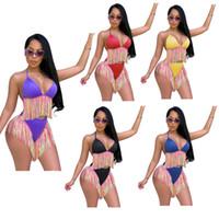 Wholesale womens bikini swimwear online - Womens bikini swimwear Woman designer swimsuit Tassel Spliced two piece swimsuits rainbow color designer swim wear Bathing SALE A52103