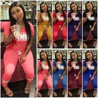 bayanlar için pantolon takım elbise toptan satış-3500 # 8 Renk S-2XL Yeni Bayan 2 ADET Yaz Eşofman Set Bayanlar Pantolon Tops Aktif Spor Takım Elbise Loungewear