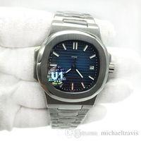 мужские часы оптовых-U1 Factory Movement Мужские часы с гравировкой Nautilus PP Автоматические механические из нержавеющей стали Прозрачный задний синий циферблат Мужские наручные часы