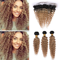 Wholesale honey brown hair weave resale online - Deep Wave Honey Blonde Ombre Human Hair Frontal and Bundles B Light Brown Ombre Deep Curly Hair Weave with Lace Frontals