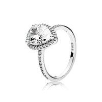 ingrosso autentico argento sterling-Autentico anello da sposa in argento sterling 925 con diamante CZ con LOGO Scatola originale per Pandora brillanti Anelli in pietra a goccia