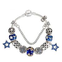 Wholesale white gold pentagram pendant for sale - Group buy Fashion brand Luxury for Pandora bracelet DIY blue flowers Coloured glaze beads pentagram pendant for women bracelet
