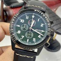 Wholesale leather watch straps pilot resale online - 1884 Pilot MM Mens Watches Quartz Chronograph Calendar Luminous Watch Leather Strap Military Green Dial Special Editon Wristwatches