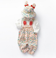 Wholesale kids clothes for sale - baby girl Kids Piece Sets Clothing Baby Spring round collar Long sleeve Shirt romper pant Hat Spring fall girl clothing sets