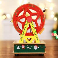 Wholesale wooden craft boxes resale online - Ferris Wheel Trojan Kids Gift Home Craft Baby Room Horse Music Box Wooden Christmas Birthday Decorations