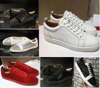 neue mode schuhe spikes großhandel-Top-Qualität 2019 neue Ankunfts-Rot grundiert Herren Damen Schuhe Mode-Veloursleder mit Spikes Loafers Nieten legeren Kleidung Stiefel Wohnungen Luxus-Turnschuhe