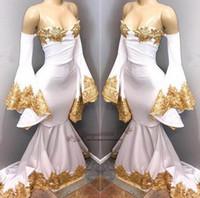 vestidos formales de spandex al por mayor-Sirena de África 2019 vestidos de fiesta sexy novia del hombro Spandex vestidos formales de noche hechos a medida con apliques de encaje dorado